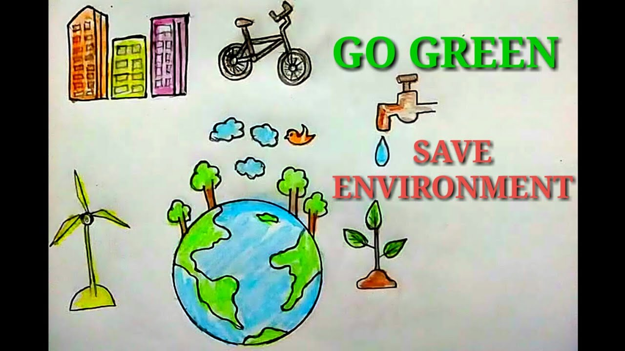 How To Draw Save Nature Green Energy Save Environment Easy