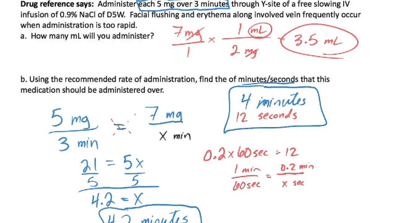 Iv Push Dosage Calculation Two Examples Youtube