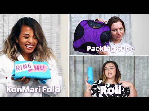 Folding Vs. Rolling Vs. Packing Cube • Packing Challenge