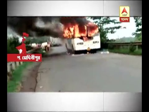 Govt bus caught fire in West Medinipur