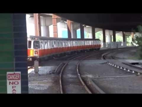 "Boston MBTA ""T"" Orange Line Subway Train Arriving At Community College"