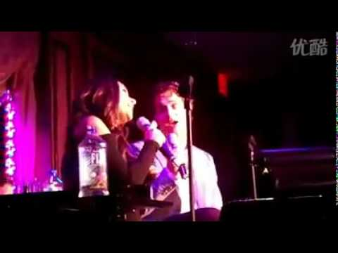 Jonathan Groff and Lea Michele singing Lucky