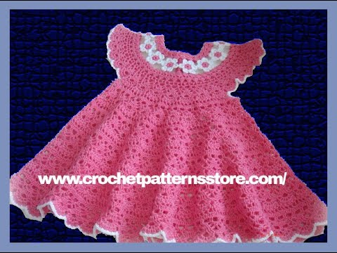 Free Patterns For Baby Dresses In Crochet : Crochet Patterns for free Crochet Baby Dress 585 - YouTube