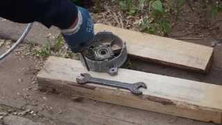 Тест 3 очистка самодельным пескоструем корпусов генератора и насоса