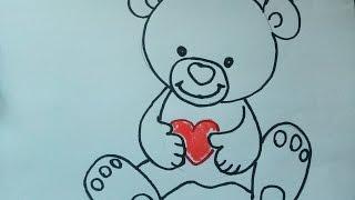 Einen Teddy (Teddybär) zeichnen  zeichnen. Kuschelbär malen für Anfänger. How to draw Teddy bear
