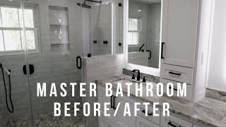 Master Bathroom Remodel - Before and After of a completely redesigned bathroom