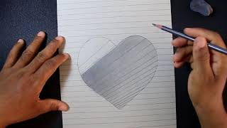 How to Draw a 3D Hole Heart Shape   Easy 3D Drawings for Kids