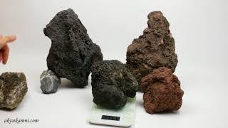 Сравнение камней для аквариума, черная лава, коричневая лава, карпатский камень
