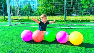 Learn Colors with Balls for Children and Toddlers | Play Football Learning Colours Outside Activity