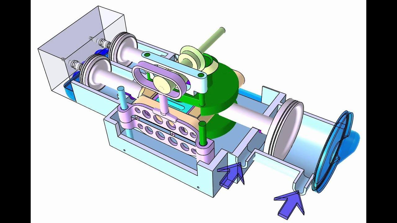4 Cylinder Blower : Scuderi type cylinder stroke engine with piston