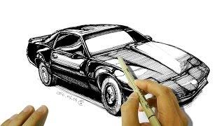 """폰티악 파이어버드 전격 Z 작전 """"키트""""  자동차 그리기 - How to Draw a Pontiac Firebird (Knight Rider K.I.T.T.)"""