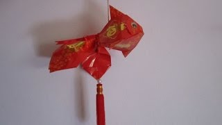Repeat youtube video CNY TUTORIAL NO. 2 - How to make an Ornamental Goldfish (红包金魚) from Red Packet (Hong Bao Packet)