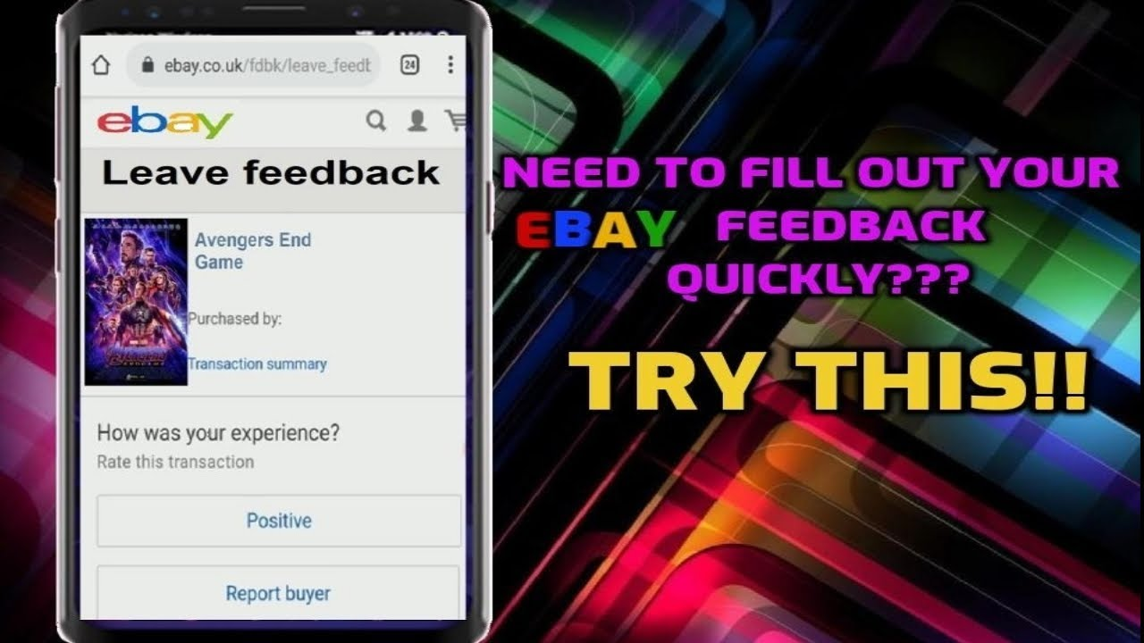 Ebay Guide How To Complete All Your Ebay Feedback In A Few Minutes Youtube