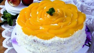 Этот ТОРТ могу готовить ПОСТОЯННО Бисквитный торт Персиковый Рай