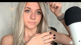 ASMR|| Tingly Close Whispered  Jewelry Show and Tell/ Examining Each Piece/ Hand Movements