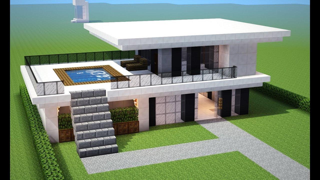 Minecraft tutorial como fazer uma casa moderna para sua for Casa moderna minecraft design