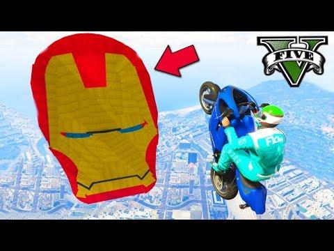 GTA V Online: A CORRIDA do IRON MAN GIGANTE!!! (COM MOTOS)