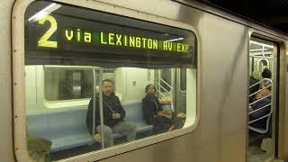 R142 2 trains at Fulton Street via Lexington Avenue