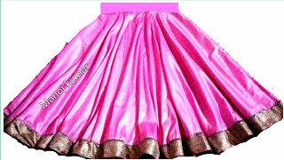 पुरानी साड़ी से बनाएं  Full gher Umbrella cut / Circle lehenga cutting and stitching..👌👌
