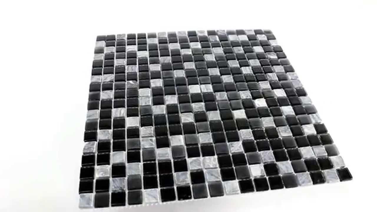 Marmor Glas Mosaik Fliesen Schwarz Grau 15x15x5mm - YouTube