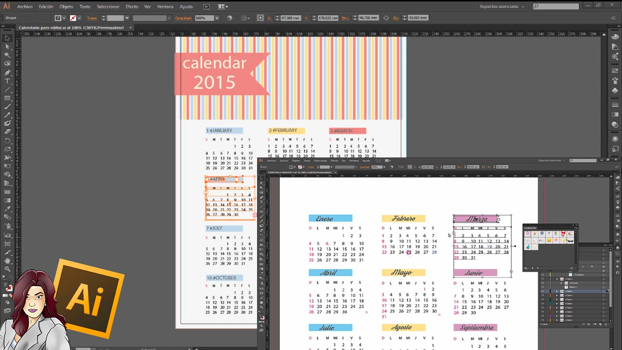 Tutorial illustrator: Editar y personalizar un calendario - YouTube