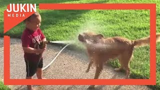 Toddler Sprays Dog With Water Hose