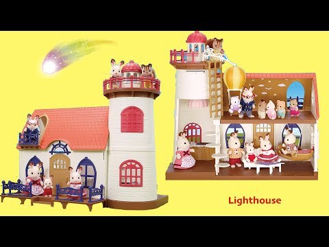 Lighthouse Dollhouse Unboxing Assembly House Tour ! Sylvania Families Starry Point Lighthouse