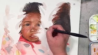 Watercolor portrait painting demo of a girl - using scratching technique for fur