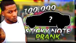 100,000 Sticky Notes On My Boyfriend Car PRANK!!!