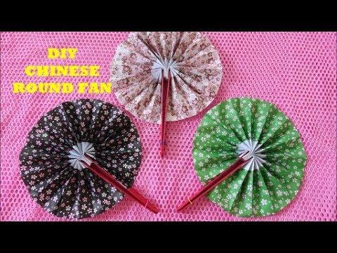 DIY Chinese Round Fan Tutorial ~ Paper Fan making ~Origami Paper Hand Fan ~ Steps