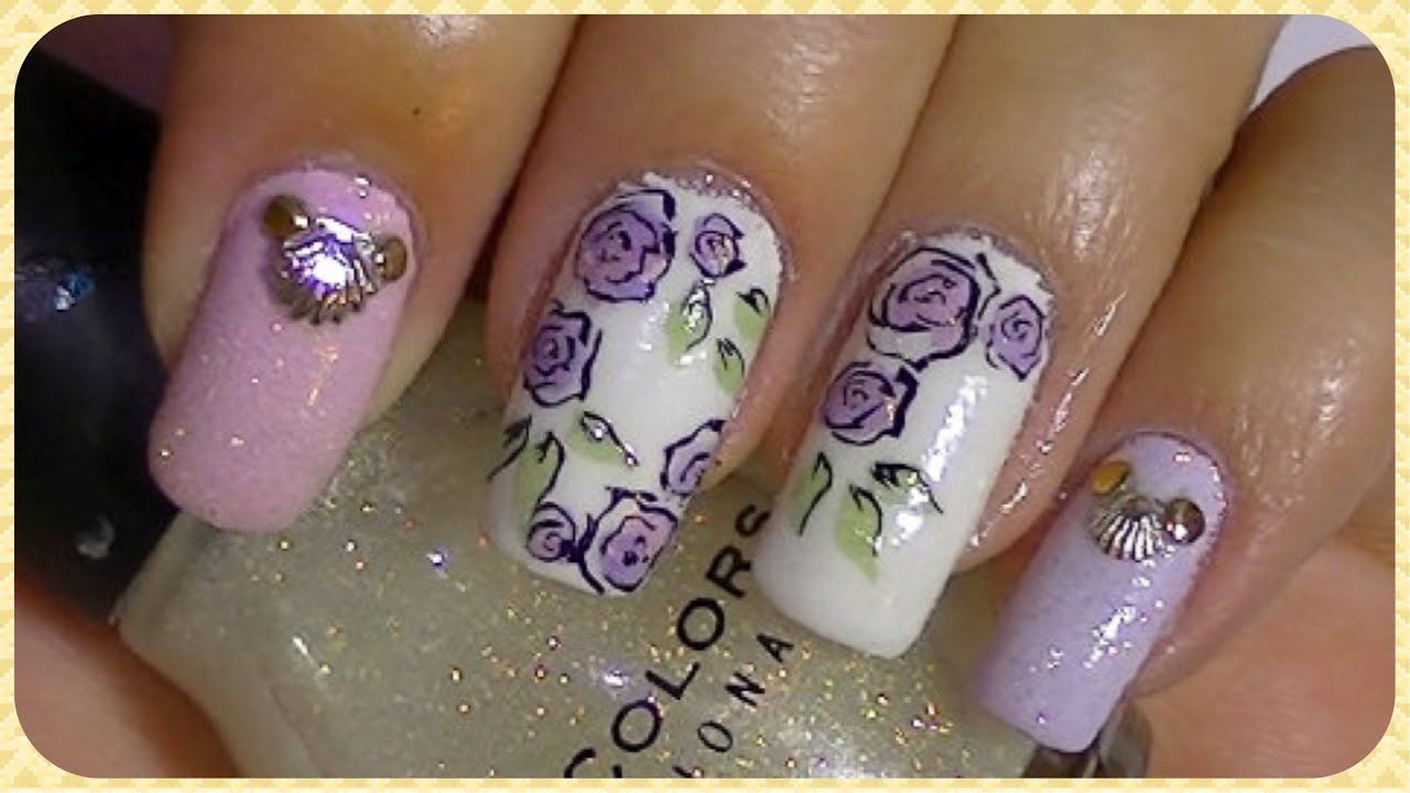 Simple roses nail art design tutorial youtube prinsesfo Gallery