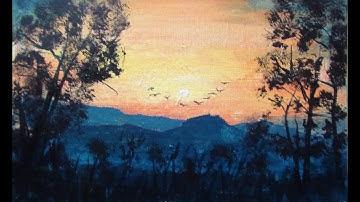 10-Minuten-Malerei: Romantischer Sonnenuntergang