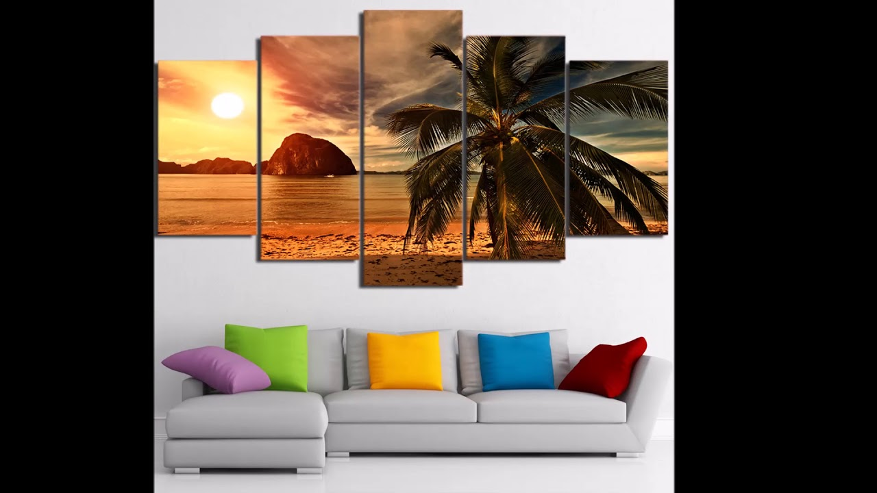 5 panel tropical beach palm tree canvas wall art for living room office