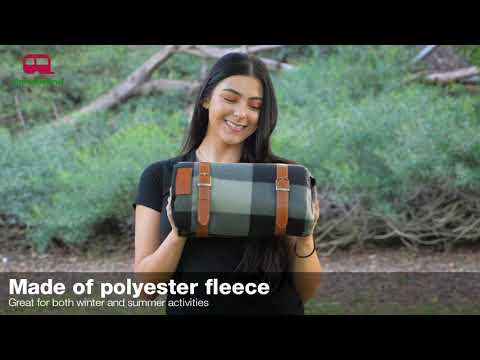 PortableAnd Large Picnic & Outdoor Blanket Gray Checkered