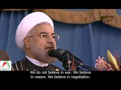 [English sub]. Rouhani: Iran's armed forces advocate peace and stability in the region.