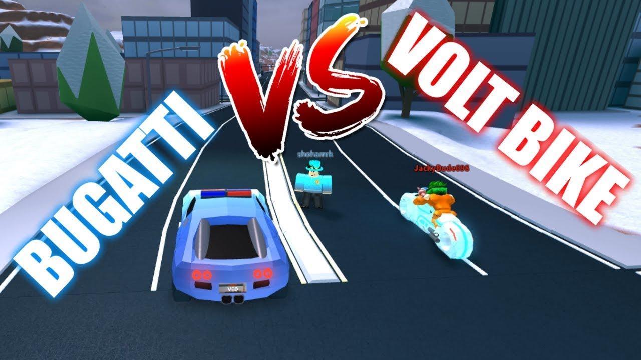 Roblox Jailbreak Volt Bike Vs Bugatti Who Will Win Youtube