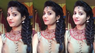 Fuller Side Braid in Thin Hair: Easy Hairstyles || Maang tikka hairstyle || Braid hairstyle ||