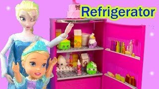 Barbie Disney Frozen Queen Toddler Elsa Glam Refrigerator Dreamhouse Unboxing Shopkins