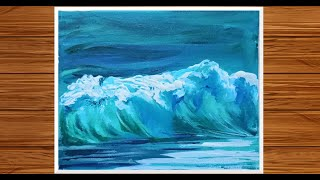 How to make Sea Wave Painting with Acrylics | Monochorme in Blue