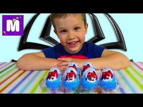 Видео, Человек-паук яйца сюрприз игрушки распаковка
