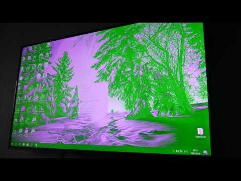 Как убрать зеленый экран на мониторе
