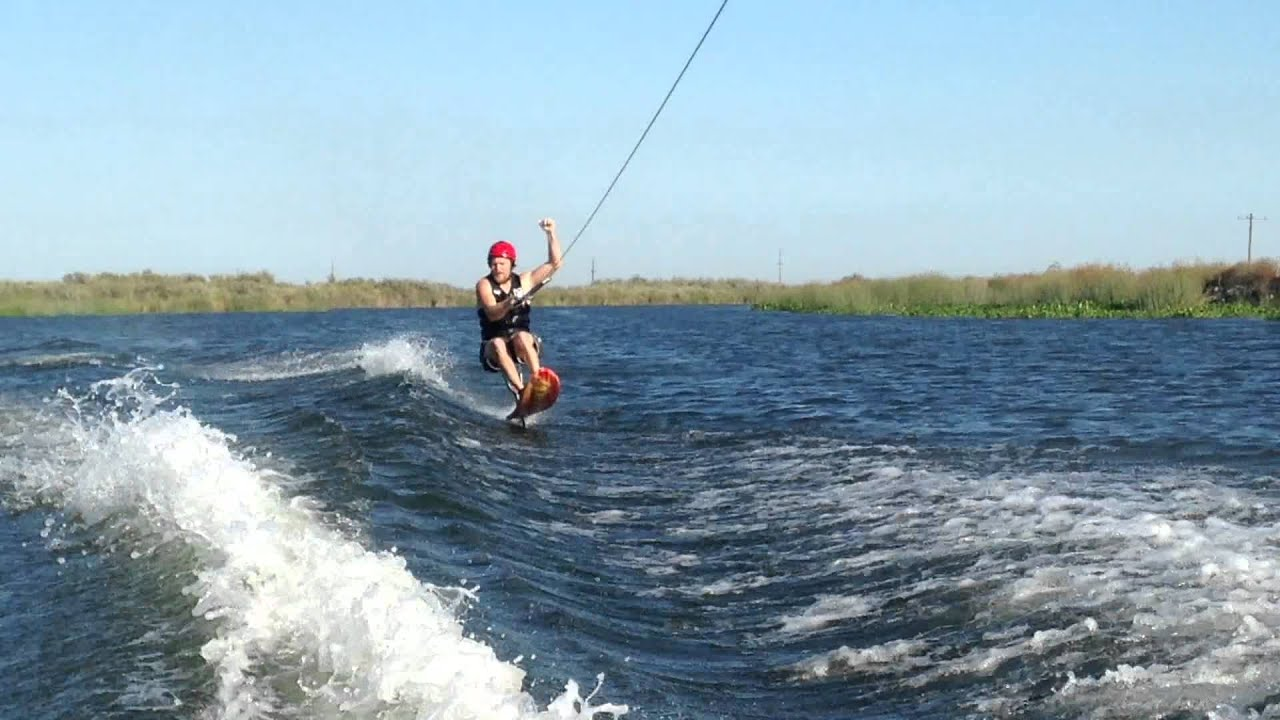 Gutsy air chair flip over dock mike murphy on hydrofoil waterskiing - Air Chair Back Roll Practice 2014 August Bawsc Houseboat Trip