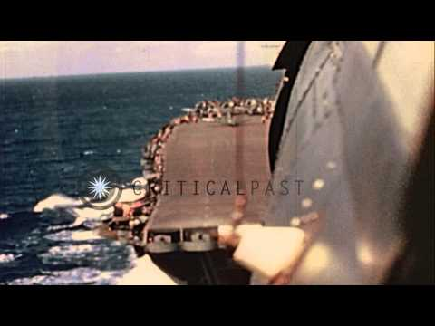 United States fighter aircrafts F6F Hellcat and F4U Corsair on aircraft carrier U...HD Stock Footage