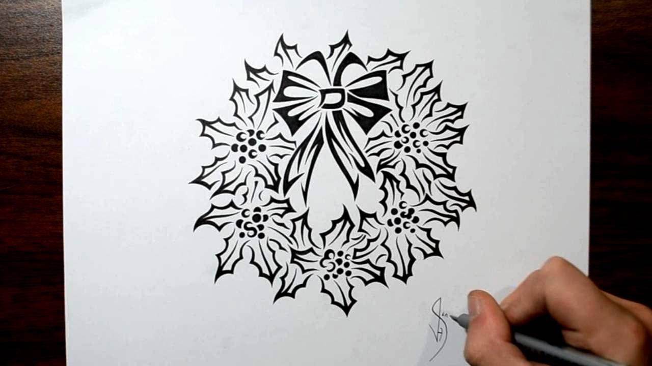 Tribal Santa Tatoo: How To Draw A Christmas Wreath