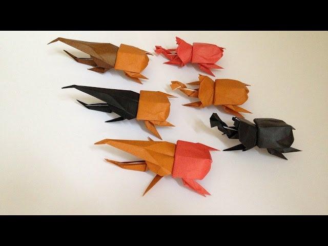 Origami Beetle (back(body) 3D instructions 脱??達??巽卒? 達?束達??達??達??達?揃 ...