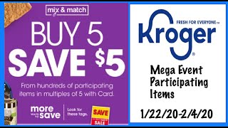 Kroger Mega Event Participating Items List--1/22/20-2/4/20