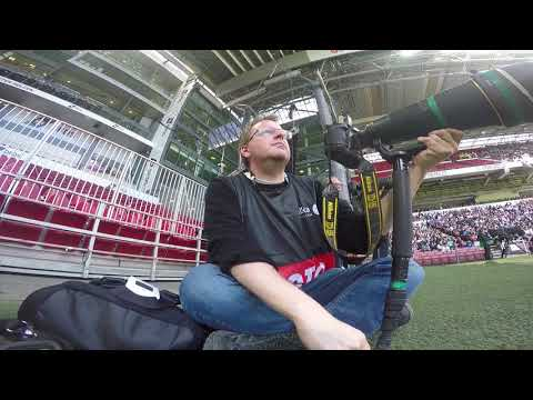 GoPro POV behind the scenes with football photographer at the Copenhagen Derby soccer match
