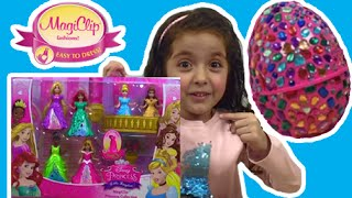 Giant Surprise Egg Opening! Magiclip Dolls + Play Doh Dresses + Kinder Egg - Princesses In Real Life