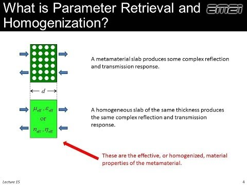 Lecture 15 (EM21) -- Homogenization and parameter retrieval