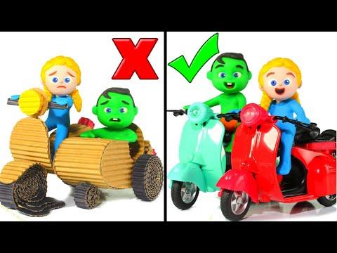Cardboard Motorbike VS Real Motorbike ❤ Cartoons For Kids